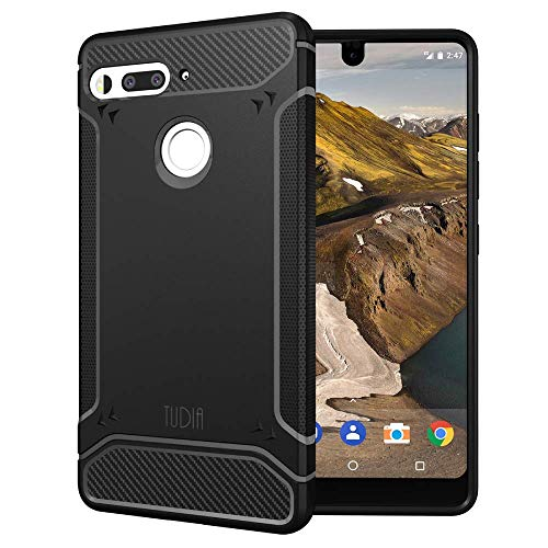 TUDIA 超薄型 TAMM TPU カーボンファイバー バンパー 保護ケース Essential Phone PH-1 (黑)