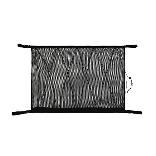 XJF Bolsa de almacenamiento para techo de coche con cordón de ajuste, red de carga interior de coche, red de almacenamiento de red de techo de coche, bolsillo para colgar Sundries organizador de malla