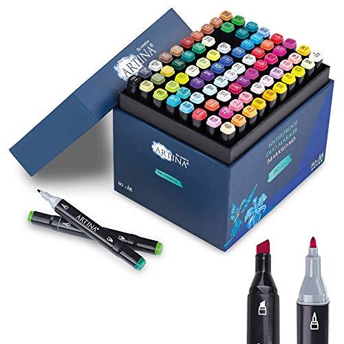 Artina Marker Stifte Set 80 Stück - Markilo MD - Twin Graffiti Stifte Set Dual Marker Set Highlighter Filzstifte für Grafikdesigner, Mangas, Mode, Scrapbooking, Sketching