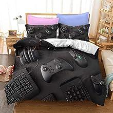 Juegos de Ropa de Cama de Videojuegos Adolescentes Funda Nórdica Gamepad Gaming Gamer Decoración de Dormitorio Moderna Colcha de Microfibra Suave para Niños Niñas (Multi 4, 180x210cm Cama 90 cm)