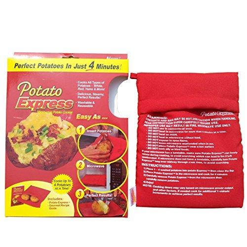 paracity micro-ondes Sac de pommes de terre au four micro-ondes de pommes de terre express Sac cuisson Lot de 2 (Rouge)