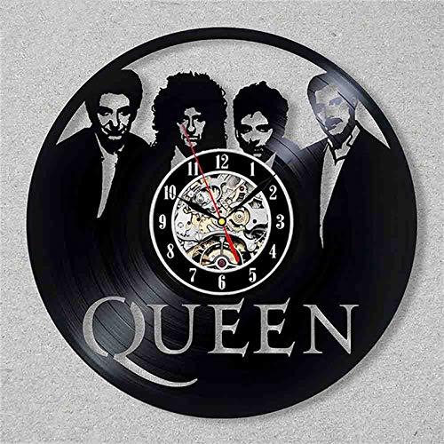 BFMBCHDJ Vintage Vinyl Schallplatte Wanduhr Queen Rock Band 3D Aufkleber Dekoration Musik Thema Hängende Uhren Wanduhr Kunst Home Decor