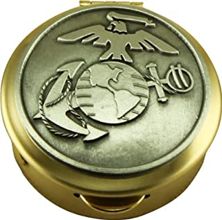Son Sales United States Marine Corps Polished Brass Pill/Keepsake Box, Pyx with detailed Marine Corps Pewter military logo