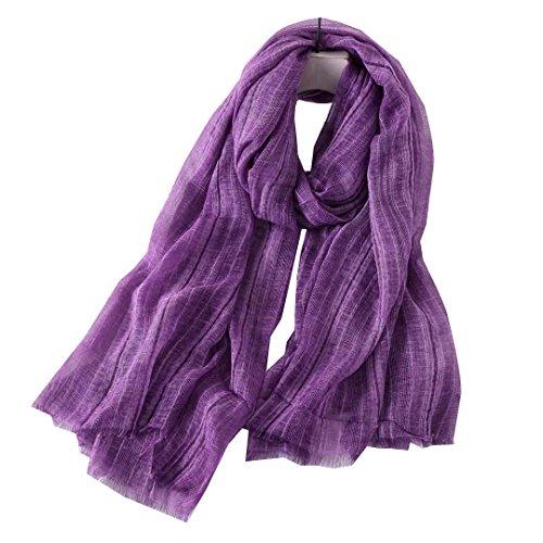 Bufanda De Color Liso Unisex Para Hombre Y Mujer De Primavera Verano Y Otoño (Morado)