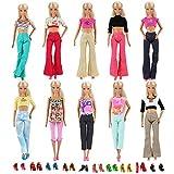 Miunana 30 Stück = 10 Hemd Bluse T-Shirt Tops mit 10 Hosen Kleidung Kleider Outfit mit 10 Paar...