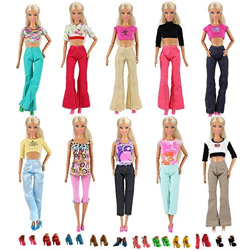Miunana 30 Stück = 10 Hemd Bluse T-Shirt Tops mit 10 Hosen Kleidung Kleider Outfit mit 10 Paar Schuhe für 11,5 Zoll Mädchen Puppen