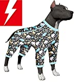 COMES IN JUST THE RIGHT SIZE: This unique large breed dog pajamas are made perfectly for your dogs comfort. It causes zero stress and inches on your dogs skin. This pjs are perfect for pitbull type dogs, and other large short haired breeds. This is t...