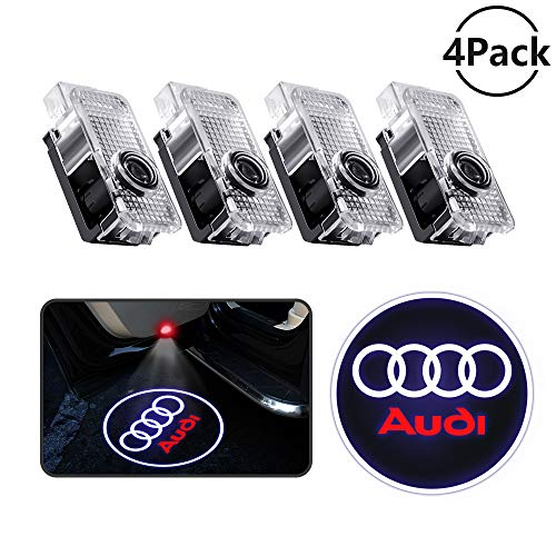 4 Pcs Car Door Projector LED Logo Lights, Audi Puddle Entry Ghost Shadow Welcome Lighting for Audi A1 A3 A4 A5 A6 A7 A8 Q3 Q5 Q7 R8 TT Accessories & Parts Emblem Reflector Lamp