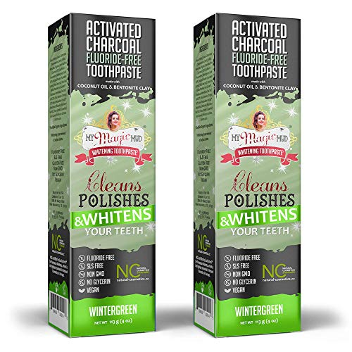 My Magic Mud Charcoal Teeth Whitening Toothpaste, Verified Enamel Safe & Clinically Proven, Organic Coconut Oil, Essential Oils, Best Natural Whitener, Fluoride-Free, Vegan, Wintergreen 2-Pack (4oz)