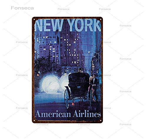 Ami0707 Tin sign wall decoration Retro New York City Travel Iron Painting Classic Vintage Tin Sign Metal Plate Tin Poster Wall Bar Home Art Decoration 30X20CM 20x30cm CITY060801215
