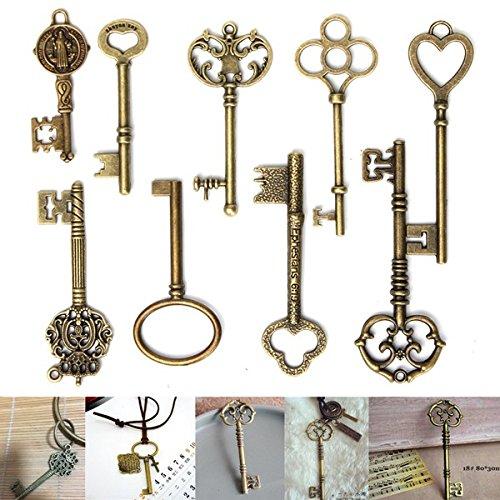 RanDal 9Pcs Llaves maestras antiguas de la vendimia Colgantes de bronce del encanto para la fabricación de joyas de bricolaje