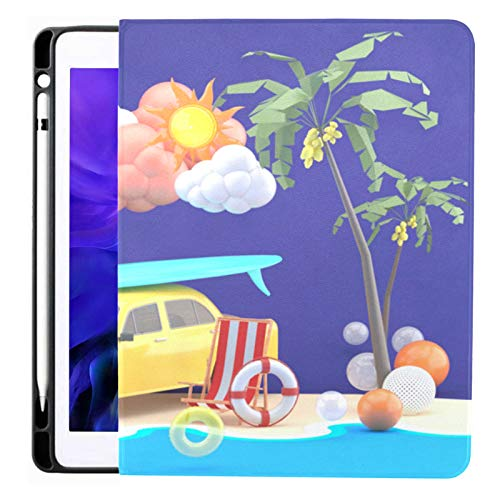 Ipad Pro 12.9 Case 2020 & 2018 With Pencil Holder Car Surfboard Surrounded By Colorful Balls Smart Cover Ipad Case, Supports 2nd Gen Pencil Charging,case For 2020 Ipad Pro 12.9 Cover With Auto Sleep/