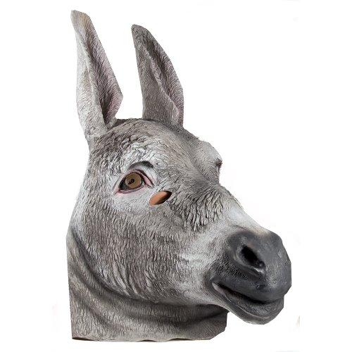 HMS Donkey Realistic Animal Mask, Grey, One Size