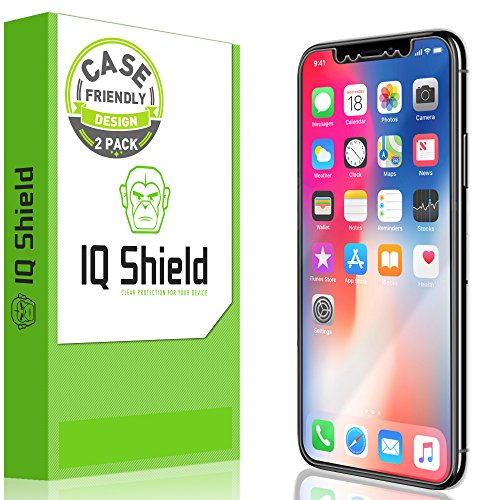IQShield Screen Protector Compatible with iPhone X (2-Pack)(Case Friendly) Anti-Bubble Clear Film