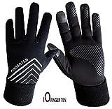 Set di guanti invernali da corsa, da donna, uomo, touchscreen, con dorso in pile, impermeabili, antiscivolo, con impugnatura 3M, con fascia per le orecchie inclusa, L