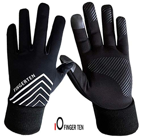 FINGER TEN Running Gloves for Men Ladies Touchscreen Fleece Liner, 3M...