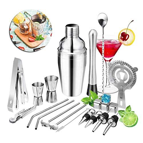 Heqianqian 22 piezas 550 ml/750 ml Boston Cocktail Shaker Bar kit de herramientas de acero inoxidable Bartender mezclador bar accesorios