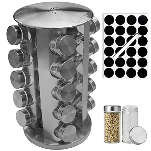 Cuisatel Carrousel à épices Rotatif 360° | 20 Pots à Epices en Verre | 17,8 x 33 cm (D x H) | 20 Etiquettes et marqueur inclus | Présentoir à Épices | Inox | Rangement épices