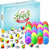 Set of 24 Brain Teaser Puzzles Filled Easter Eggs, Bright Colorful Prefilled Plastic Easter Eggs with Metal Wire Puzzles and Plastic Puzzles, Easter Gift Box Easter Party Favors for Holiday Kids Girls Boys