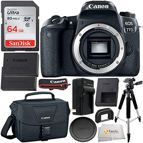 Canon EOS 77D DSLR Camera Body with Free Promotional SanDisk Ultra 64GB SDXC Memory Card