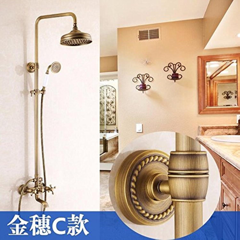 Luxus NEUE Antike Messing Regendusche Set Wasserhahn + Wannenmischbatterie + Handbrause Wandmontage 4 Typ für Ihre Wahl, Hellgelb