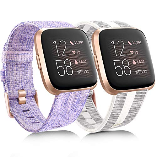 [2 Pack] Woven Fabric Bands Compatible with Fitbit Versa 2, Fitbit Versa/Versa Lite/Versa SE for Women Men, Lavender & Striped White/Gray, Small