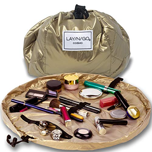 Lay-n-Go Drawstring Makeup Bag – Gold, 20 inch - Travel Cosmetic Bag and Jewelry, Electronics, Toiletry Bag – Perfect Gift
