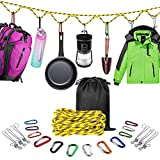 Campsite Storage Strap Camping Accessories, Outdoor Equipment Tent Lanyard Travel Hanger Clothesline Camping Essentials with 12 Ring Buckle & 6 Clothes Pins for Camper Family RV Trailer Hanging Gear