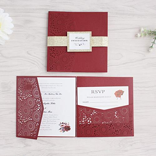 ZheQR Tasche Blume Hochzeitskarte mit RSVP umhüllen glitzernden Bauchband dreifach gefaltete Laser geschnittene Einladungen kostenlos drucken frei Schiff, Burgunder, individuelles Drucken