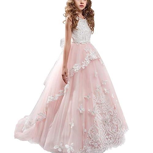 642ff4f034489 OBEEII Vestito da Ragazza Festa in Pizzo per Bambini Abiti da Sposa Vestito  Principessa Damigella Bambina