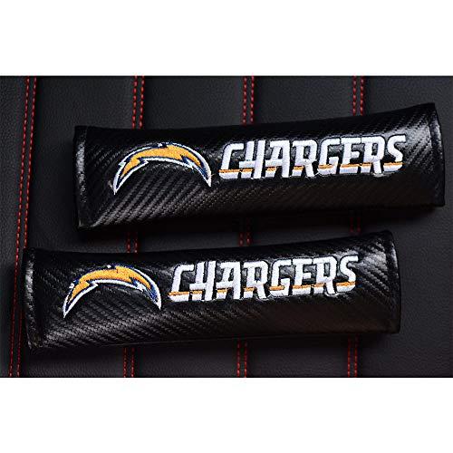 TTHT (2Pcs) Fit Los Angeles Chargers Seat Belt Covers Shoulder Pads,Black Carbon Fiber Embroidered Chargers Leather Seat Safety Belt Covers Shoulder Pads for All Car(Fit Chargers)