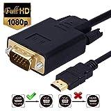 Cable HDMI a VGA, chapado en oro, 1,8 m, adaptador para ordenador, escritorio, portátil, PC, monitor, proyector, HDTV y más