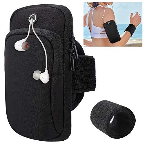 Fascia da braccio per iPhone e Android (fino a 6,2 pollici),supporto per telefono da braccio, con 2 tasche e fascia da braccio regolabile per jogging, palestra, escursionismo(2 braccialetti sportivi)