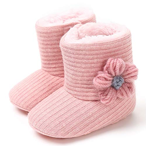 Weixinbuy Baby Girls Knit Soft Fur Winter Warm Snow Boots Crib Shoes Grey