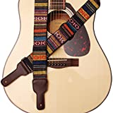 MUSIC FIRST Original Design, 2 inch width (5cm), Classic Country Style Soft Cotton & Genuine Leather Guitar Strap, Ukulele Strap, Mandolin Strap