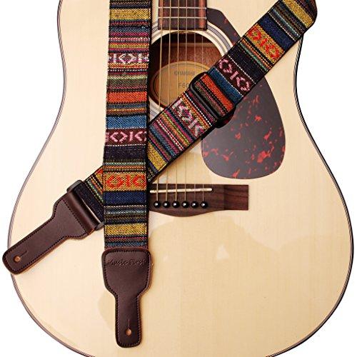 MUSIC PRIMER diseño original, 5 cm de ancho, estilo clásico de campo de algodón suave y correa de piel auténtica para guitarra, correa para ukelele, correa de mandolina
