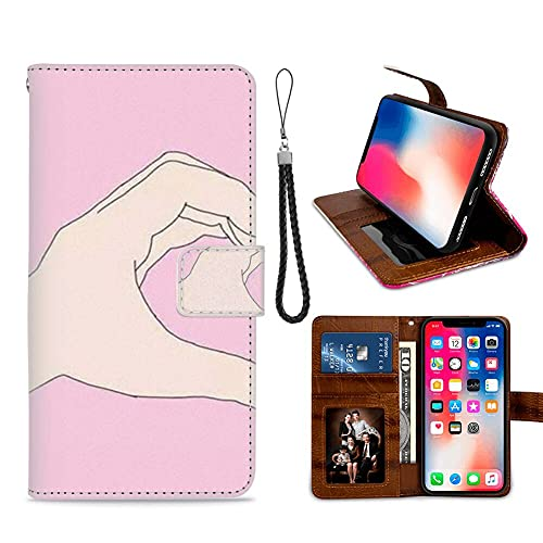 HUAKE Wallet Case fit for iPhone X iPhone Xs with Best Friend Pattern Premium PU Leather Wallet with Viewing Stand Card Slots Magnetic Buckle Folio Flip Cover Wrist Strap.