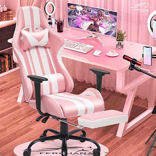 Ferghana Pink Gaming Chair with Footrest,Computer Game Chair,Massage Gaming Chairs,PC Gaming Chairs for Adults Teens for Gaming Live Streaming Room(Shero Pink)