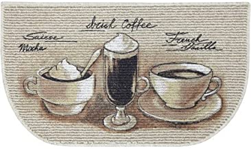Kitchen Rugs Mat Non Skid D Shaped Decor 18 x 30 Inches (18 x 30 Inches, Coffee Theme)