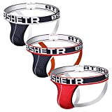 BSHETR Men's Jockstrap Athletic Supporters Underwear Multipack, Sexy Mesh Low Rise Breathable Performance Jock Strap (3-Pack) (R-388, L)
