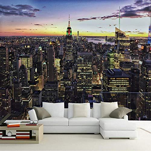 Papel Pintado 3D Fotografía Personalizada Papel Mural 3D Mural Arquitectura Urbana Europea Empire State Building Ciudad Escena Nocturna Arte Pintura Mural-300 * 250cm