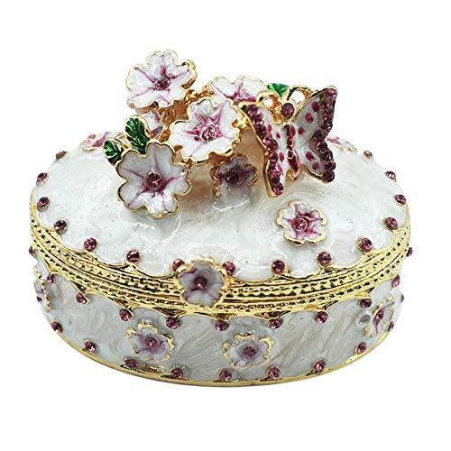 Sebasty Elegante caja de joyería de metal pintado de cereza, exquisita decoración del hogar, 6,5 x 4 x 5 cm