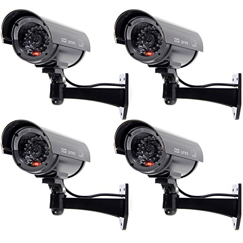 WALI Bullet Dummy Fake Surveillance Security CCTV Dome Camera Indoor Outdoor 1 Flashing LED Light and Security Alert Sticker Decals Wl-B1-4 (Black), 4 Pack