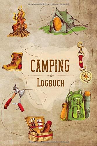 Camping Logbuch: Vintage & Retro Style Campingtagebuch für die Tour unterwegs & Road Trips mit Wohnmobil, Wohnwagen oder Zelt, tolles Geschenk für Camper und Naturfreunde, für 30 Reisen oder Etappen