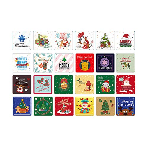 24 Pack Mini Christmas Greeting Cards & Envelopes, 24 Unique Designs Merry Christmas Winter Holiday Greeting Cards, Cute Small Size Xmas Gift Cards 2.7 x 2.7in (red)