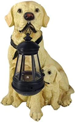 PLIENG Statues Extérieures Chien Décor Labrador/Golden Retriever Lumières Solaires à LED pour Jardin Patio Arrière-Cour,LabradorB