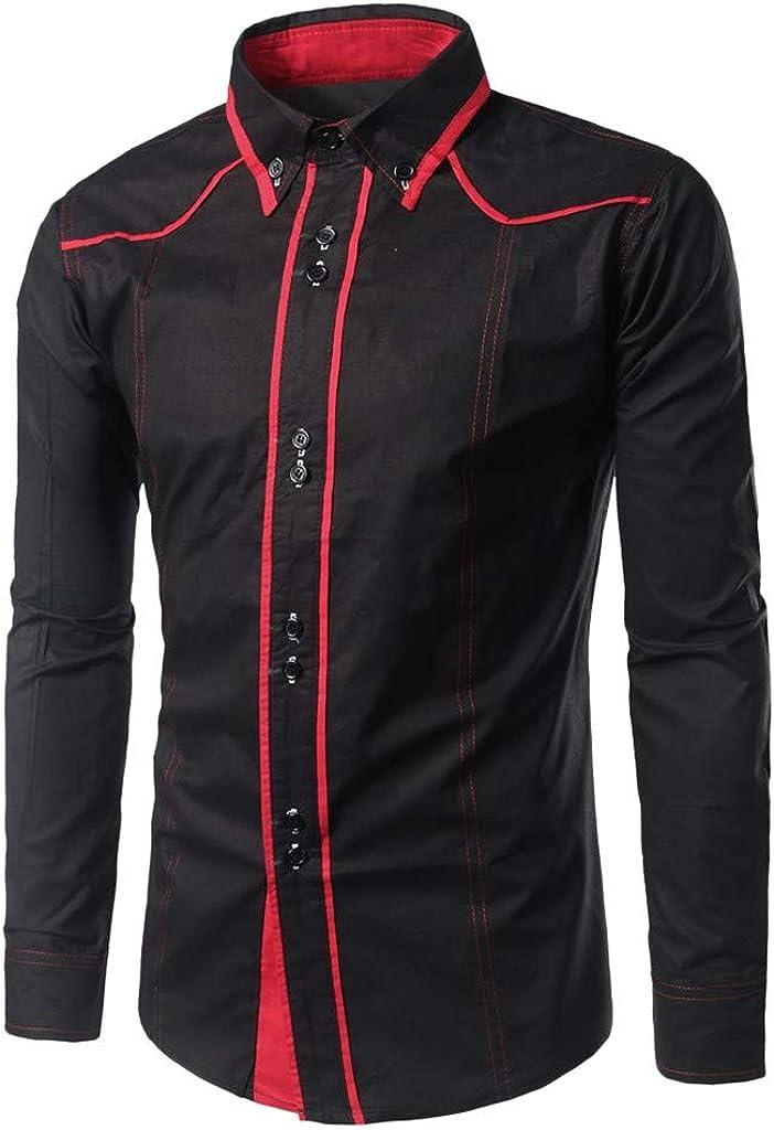 MODOQO Men's Shirt-Fashion Solid Color Double Button Turn-Down Collar Long Sleeve T-Shirt