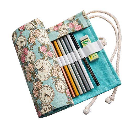 Amorar Leinwand Stifterolle,Federmäppchen Federmappen Pencil Wrap Roll up Holder Rollentasche Bleistifte 36/48/72...