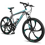 Merax Finiss 26' Aluminum 21 Speed Mg Alloy Wheel Mountain Bike (Classic Gray&Green)