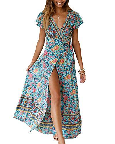 Abravo Mujer Vestido Bohemio Corto Florales Nacional Verano Vestido Casual Magas Cortas Chic de Noche Playa Vacaciones (S, Z-Verde)